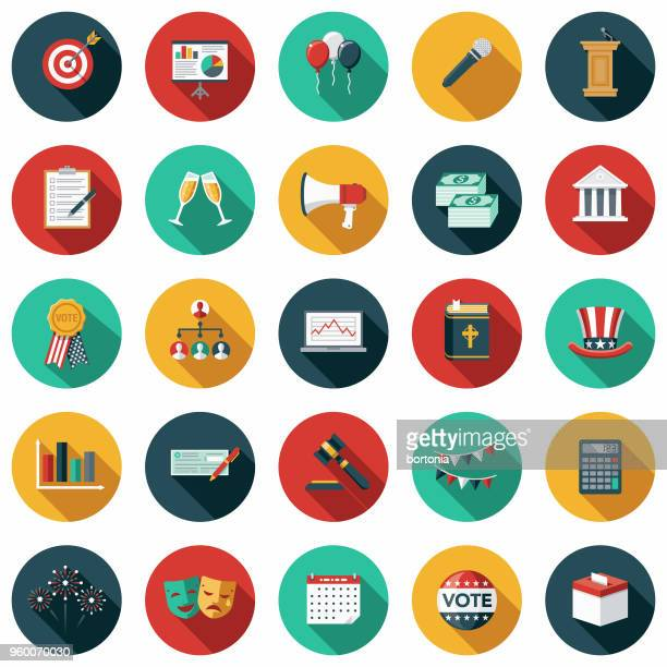 elections flat design icon set with side shadow - president stock illustrations