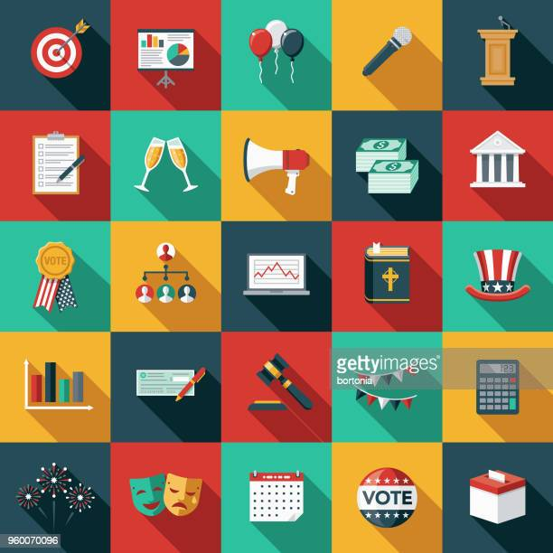 elections flat design icon set with side shadow - political party stock illustrations