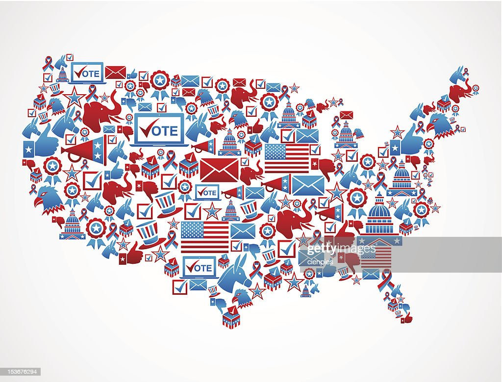 USA elections icon set in national map