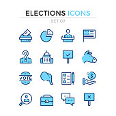 Elections icons. Vector line icons set. Premium quality. Simple thin line design. Stroke, linear style. Modern outline symbols, pictograms