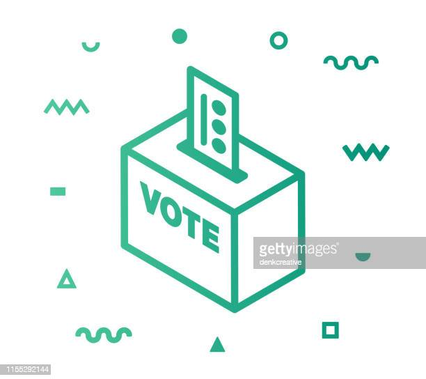 elections line style icon design - ballot box stock illustrations