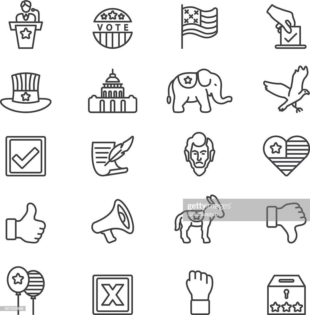 Elections Politics Government Democracy Line icons   EPS10