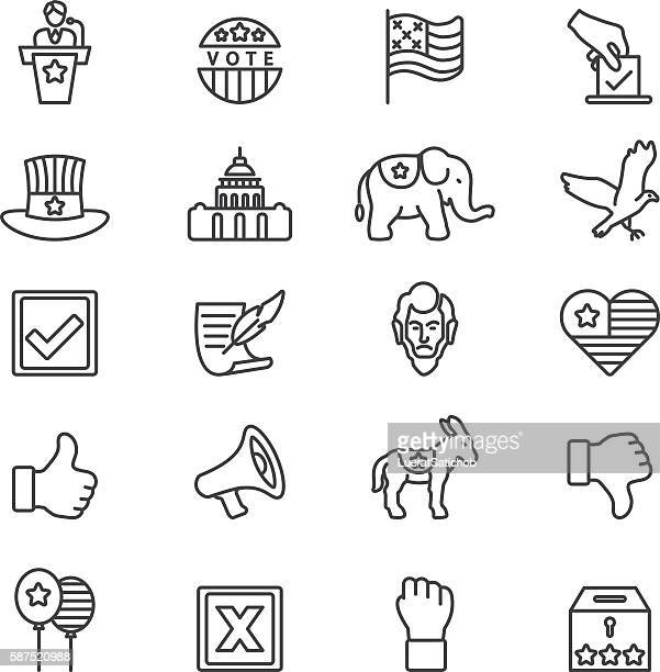 elections politics government democracy line icons | eps10 - us president stock illustrations, clip art, cartoons, & icons