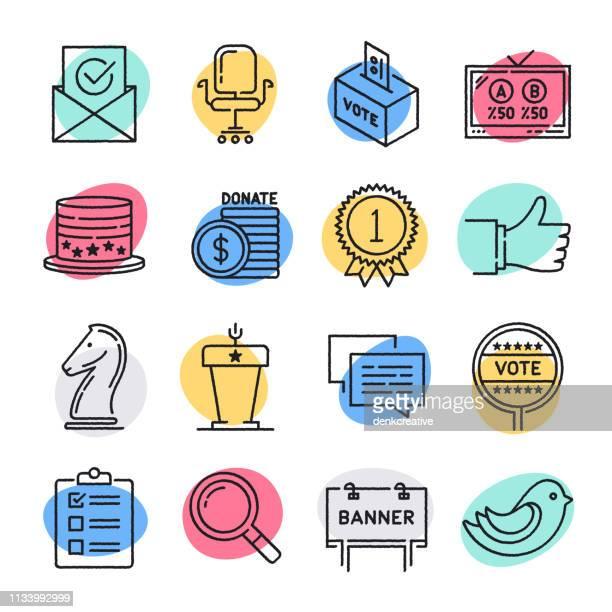 選挙 & 表現落書きスタイルベクトルアイコンセット - 国民投票点のイラスト素材/クリップアート素材/マンガ素材/アイコン素材