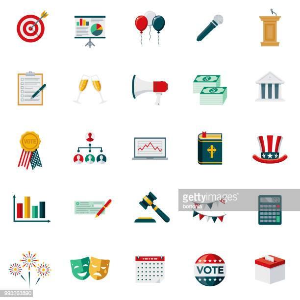 illustrations, cliparts, dessins animés et icônes de élections & vote design plat icon set - pupitre