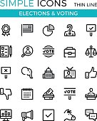 Elections, voting, political parties vector thin line icons set. 32x32 px. Modern line graphic design concepts for websites, web design, etc. Pixel perfect vector outline icons set