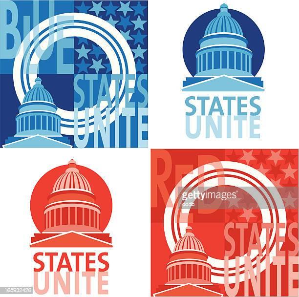 wahlbetrug college-rot gegen blau staaten - senat stock-grafiken, -clipart, -cartoons und -symbole