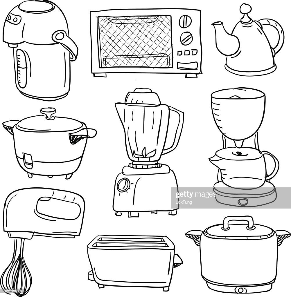 Electric appliances collection : stock illustration
