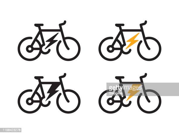 electric bicycle icon - cycling stock illustrations