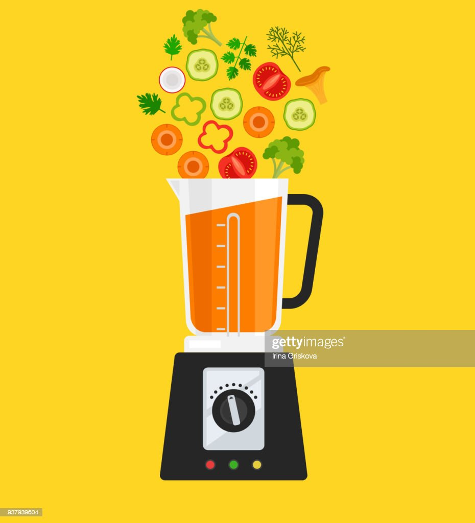 Electric blender mixer machine making detox diet juice with vegetables carrot tomato mushroom pepper broccoli herbs. Healthy morning breakfast nutrition concept