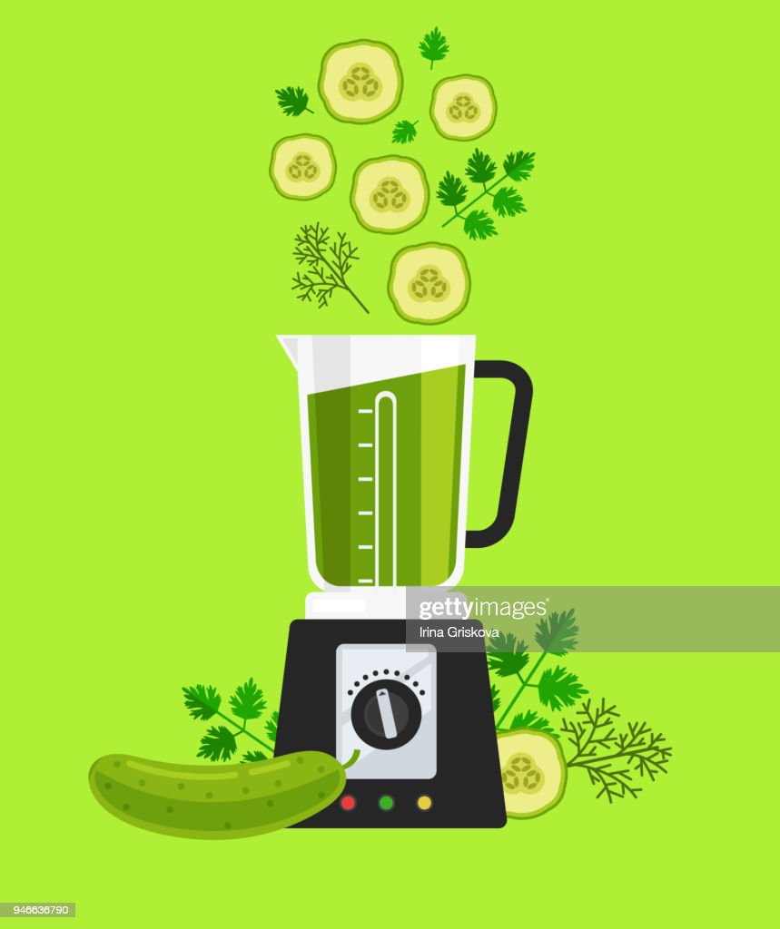 Electric blender mixer machine tool making detox diet juice with vegetable sliced cucumber parsley and dill. Healthy lifestyle morning energy breakfast nutrition concept. Vector flat graphic design isolated icon element illustration