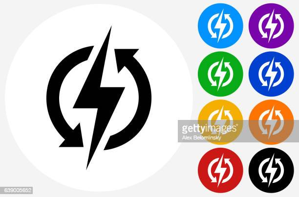 Electric Bolt Icon on Flat Color Circle Buttons