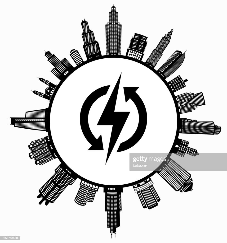 Electric Bolt auf modernen Stadtbild Skyline Hintergrund : Stock-Illustration