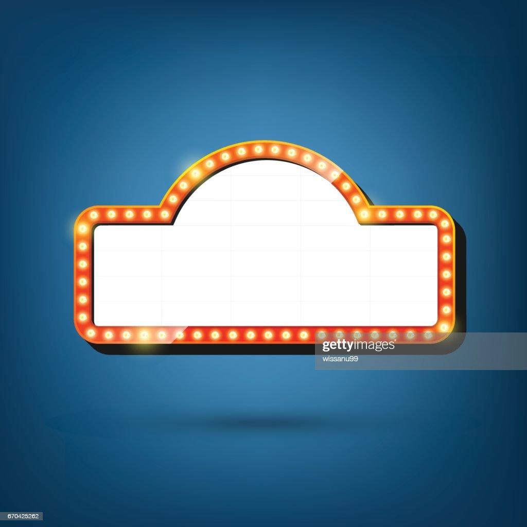 Electric bulbs billboard. Retro light frames. vector illustration