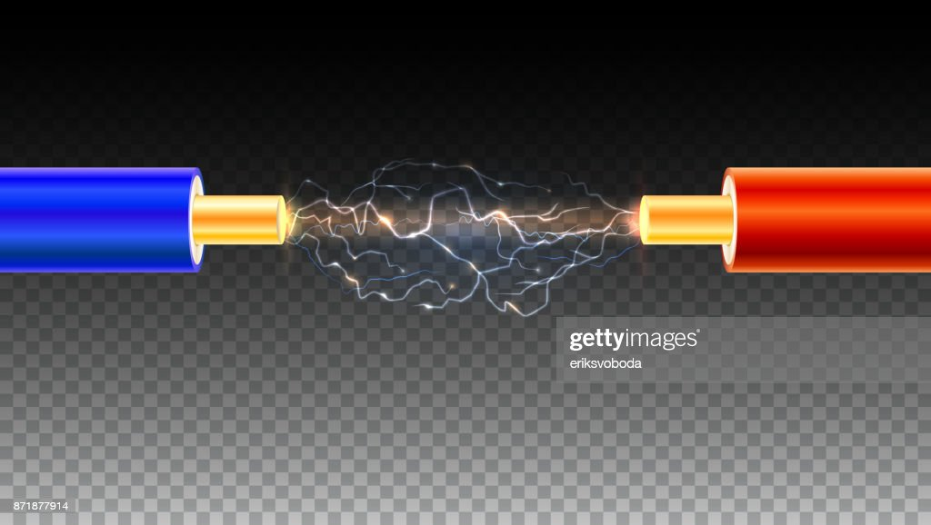 Electric Cable With Sparks On Transparent Background Copper ...