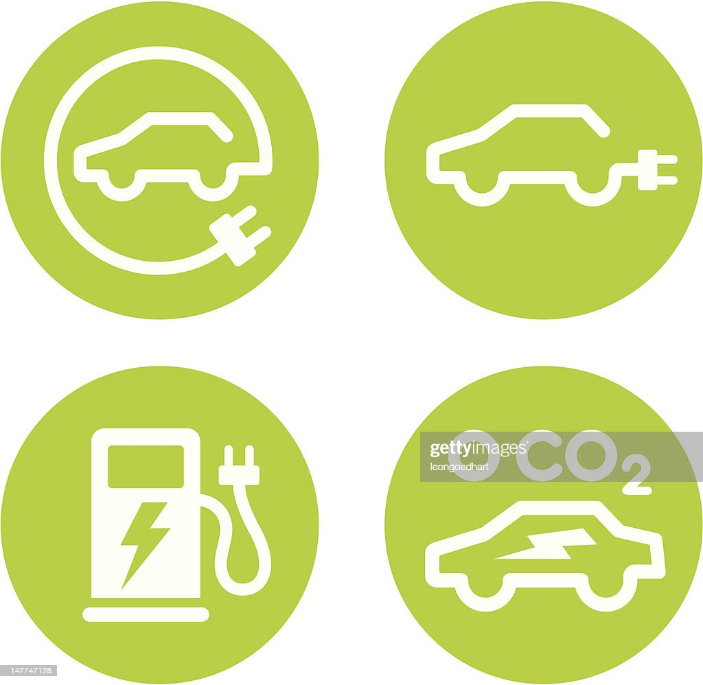 Electric car and charging point icons