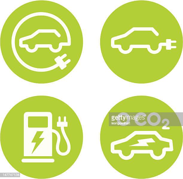 electric car and charging point icons - electric plug stock illustrations
