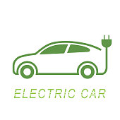 Electric car and Electrical charging station symbol icon