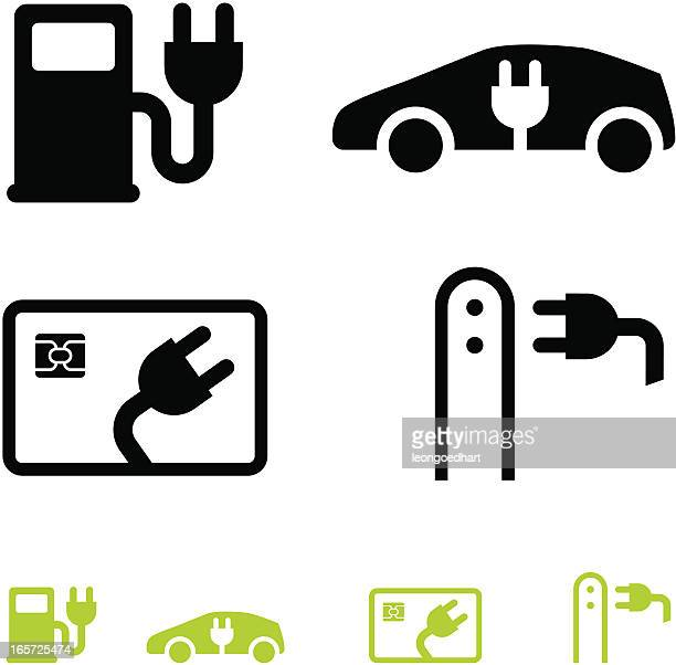 electric car and fuel icons - electric plug stock illustrations
