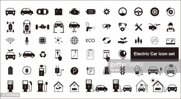 electric car and self-driving car icon set - hybrid vehicle stock illustrations