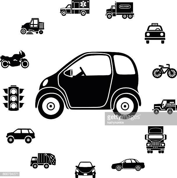 electric car and transportation icon border - commuter stock illustrations, clip art, cartoons, & icons