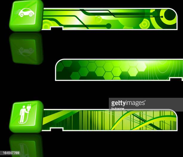 electric car buttons on green background with banners - power supply box stock illustrations, clip art, cartoons, & icons