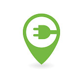 Electric car charge station map pin.