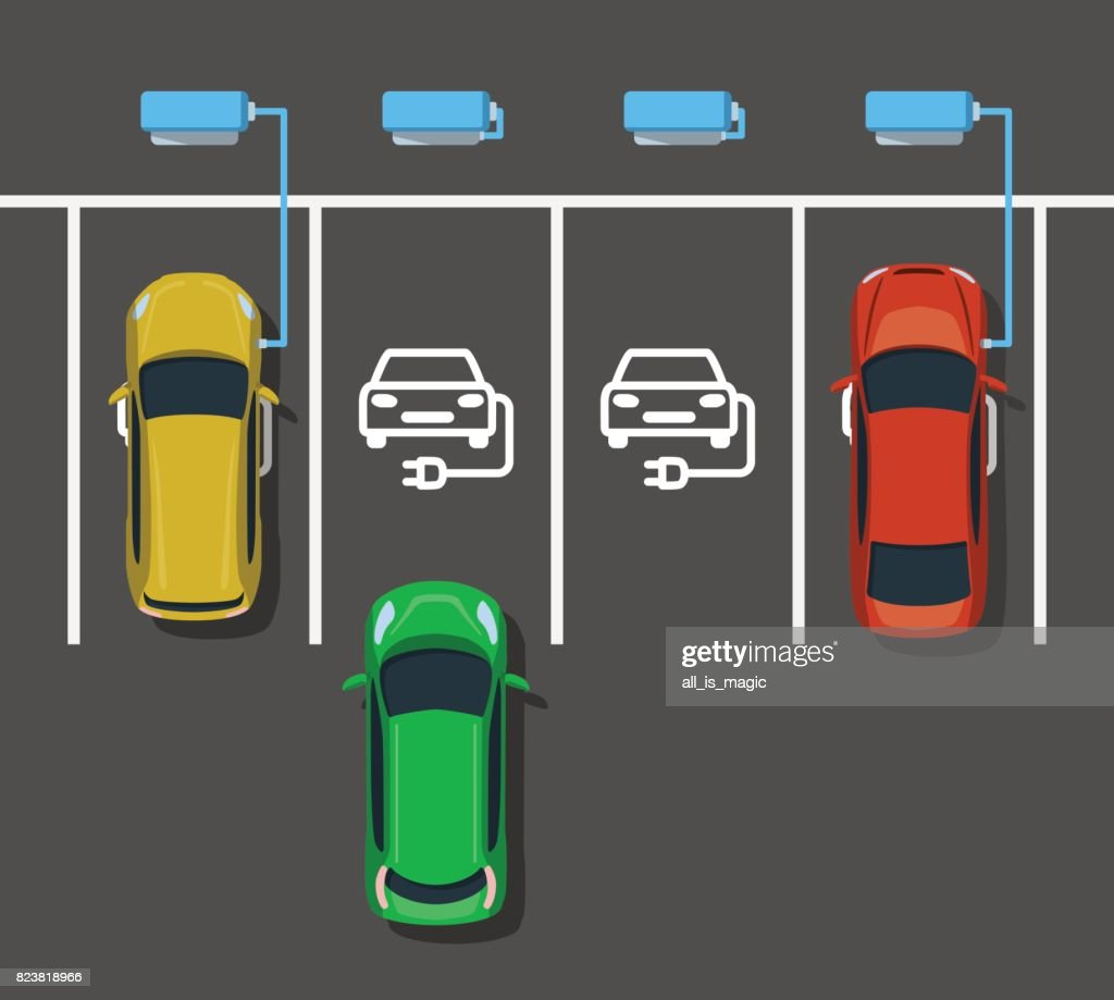 Electric Car Charging At Power Station Vector Art Getty Images Charger Diagram