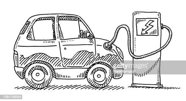 Batterien Ladestation für Elektroautos Zeichnung