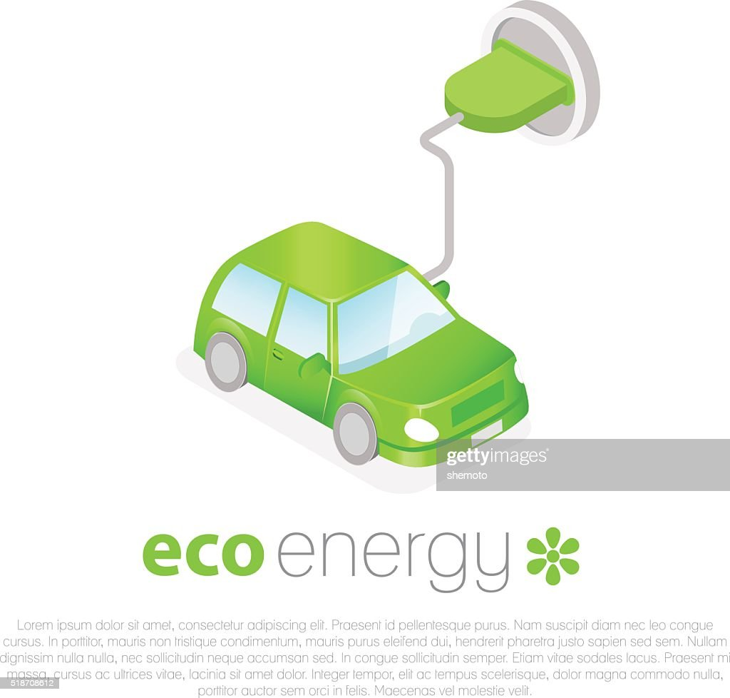 Electric car charging. Eco energy concept icon