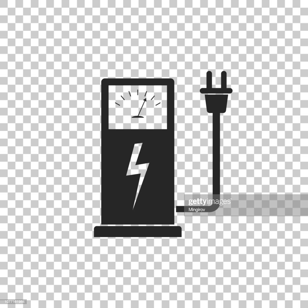 Electric car charging station icon isolated on transparent background. Flat design. Vector Illustration