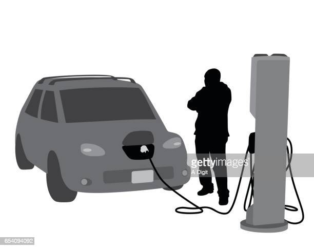 electric car charging - electric vehicle charging station stock illustrations