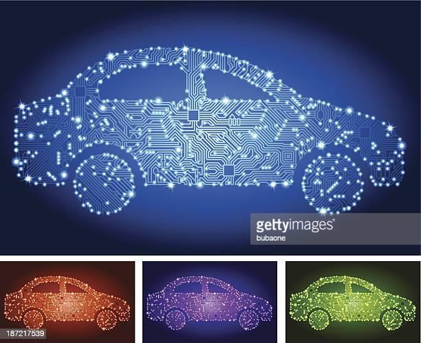 電気自動車の回路基板の色を設定します - エレクトロニクス産業点のイラスト素材/クリップアート素材/マンガ素材/アイコン素材