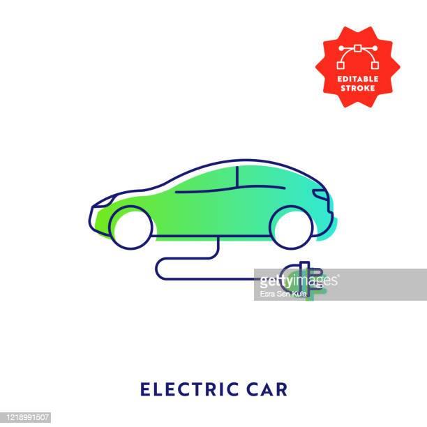 bildbanksillustrationer, clip art samt tecknat material och ikoner med elektrisk bil gradient flat line ikon med redigerbar linje och pixel perfect. - elbil