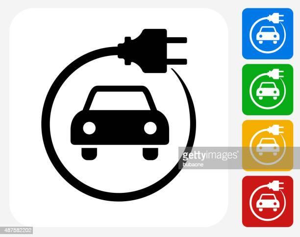 electric car icon flat graphic design - hybrid car stock illustrations, clip art, cartoons, & icons