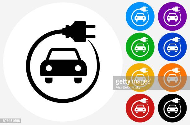 ilustraciones, imágenes clip art, dibujos animados e iconos de stock de electric car icon on flat color circle buttons - coche eléctrico coche de combustible alternativo