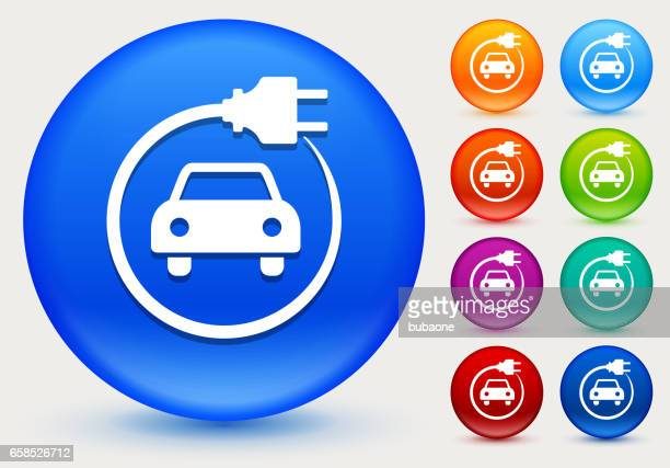electric car icon on shiny color circle buttons - hybrid car stock illustrations, clip art, cartoons, & icons