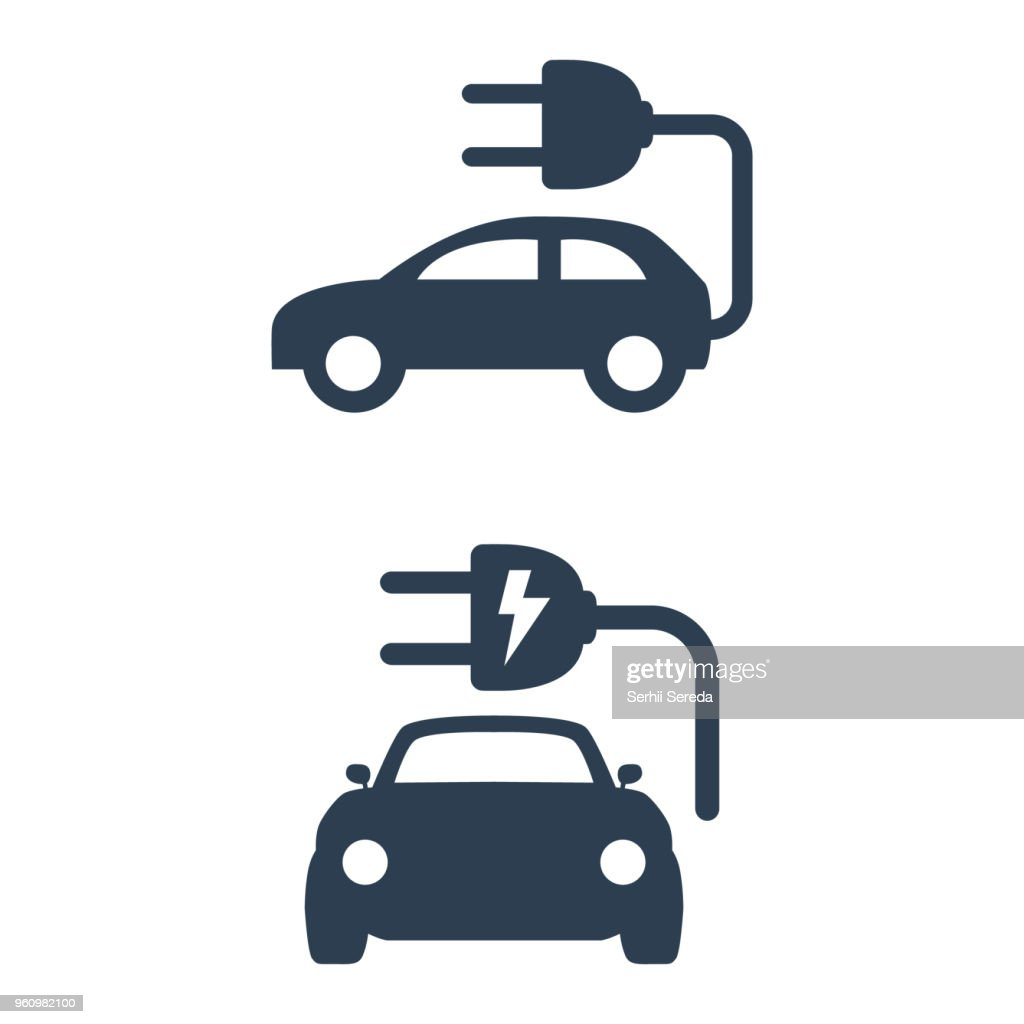 Electric car icon on white background.