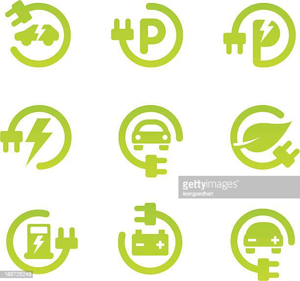 electric car icon set - electric plug stock illustrations
