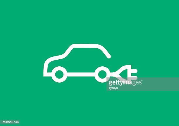 ilustraciones, imágenes clip art, dibujos animados e iconos de stock de icono de coche eléctrico  - vehículo eléctrico