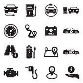 Electric Car Icons. Black Flat Design. Vector Illustration.
