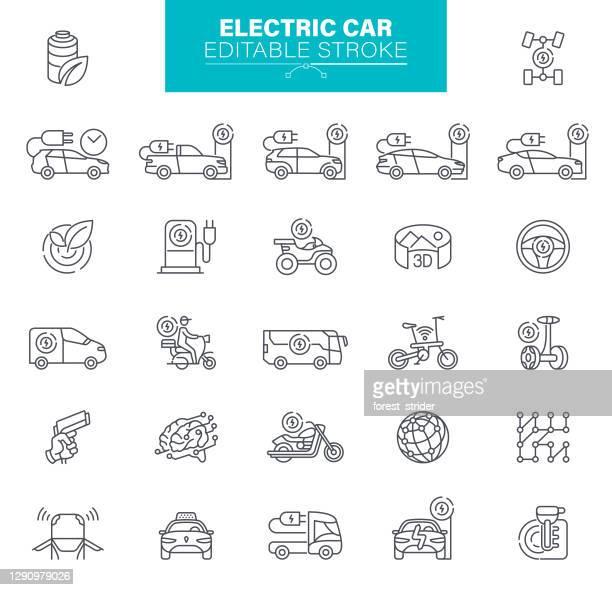 bildbanksillustrationer, clip art samt tecknat material och ikoner med elbil ikoner redigerbara stroke. . setet innehåller ikoner ekologi, miljö, kabelkontakt, laddningssymbol - elbil