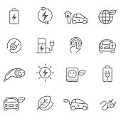 Electric Car Icons - Illustration