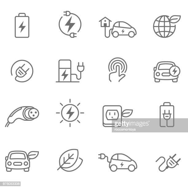 electric car icons - illustration - electric plug stock illustrations