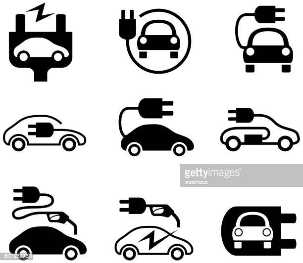 electric car icons - hybrid car stock illustrations