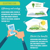 Electric car infographic vector illustration