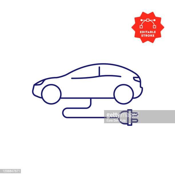 編集可能なストロークとピクセルパーフェクトと電気自動車ラインアイコン。 - 薄い・細い点のイラスト素材/クリップアート素材/マンガ素材/アイコン素材