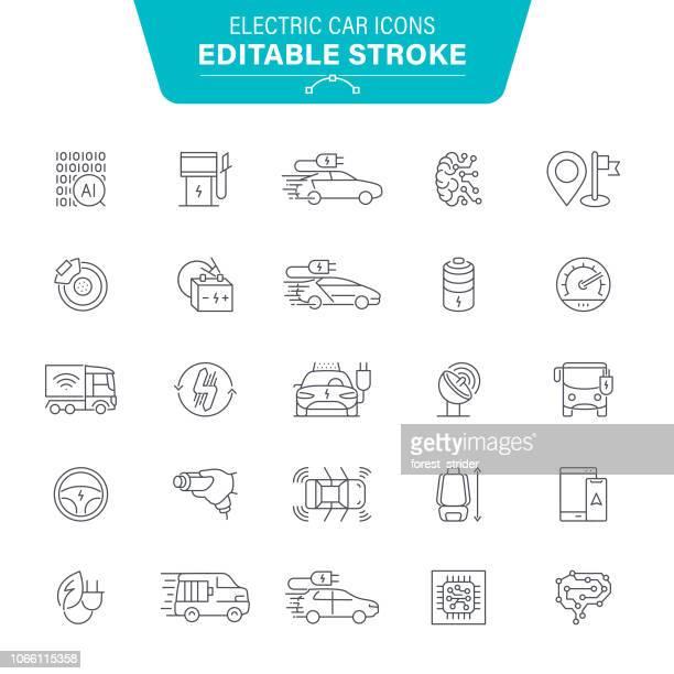 ilustraciones, imágenes clip art, dibujos animados e iconos de stock de iconos de línea de vehículos eléctricos - vehículo eléctrico