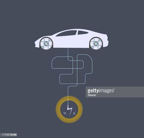 electric car - electric vehicle charging station stock illustrations