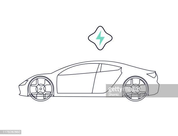 bildbanksillustrationer, clip art samt tecknat material och ikoner med elbil - elbil